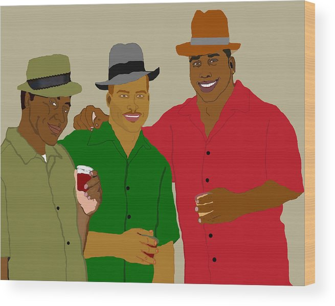 Friends Wood Print featuring the painting 3 Buds by Pharris Art