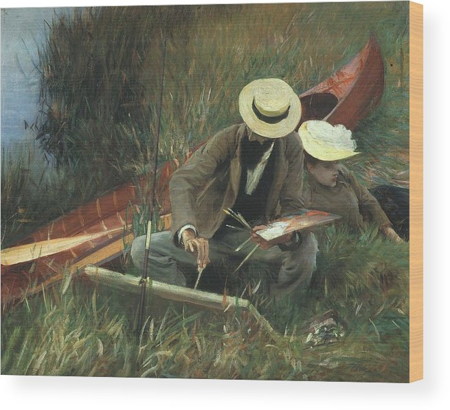 Paul Helleu Wood Print featuring the painting Paul Helleu Sketching With His Wife by John Singer Sargent