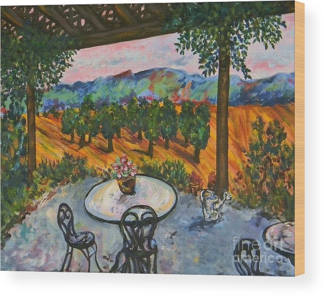 Landscape Wood Print featuring the painting Spot To Wine And Dine by Emily Michaud
