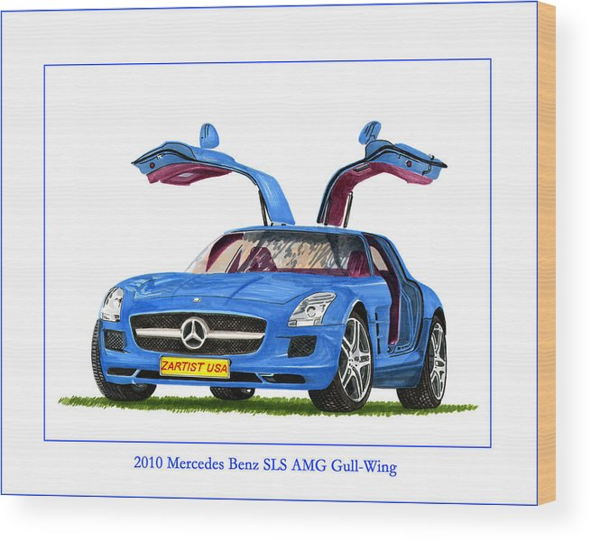 Classic Car Art Painting By Jack Pumphrey Wood Print featuring the painting 2010 Mercedes Benz S L S Gull-wing by Jack Pumphrey