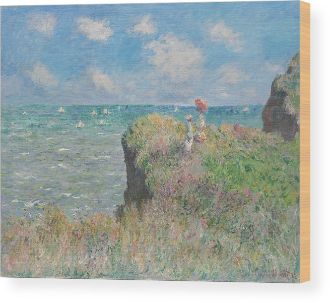 Claude Monet Wood Print featuring the painting Cliff Walk At Pourville by Claude Monet