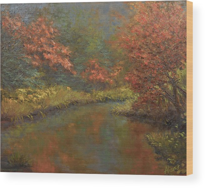 Fall Wood Print featuring the painting A Place To Remember by Alison Barrett Kent