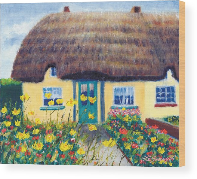 Adare Wood Print featuring the painting Adare Cottage by Stan Sweeney