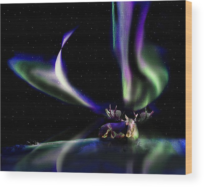 Alaska Wood Print featuring the digital art Alaska Aurora Unpredictable Spirals # Da 099 by Dianne Roberson
