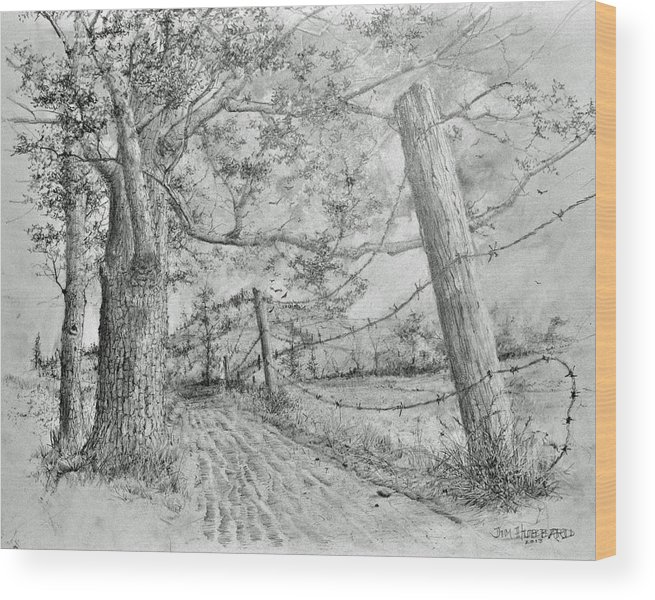 Pencil Country Scene Wood Print featuring the drawing Almost There by Jim Hubbard