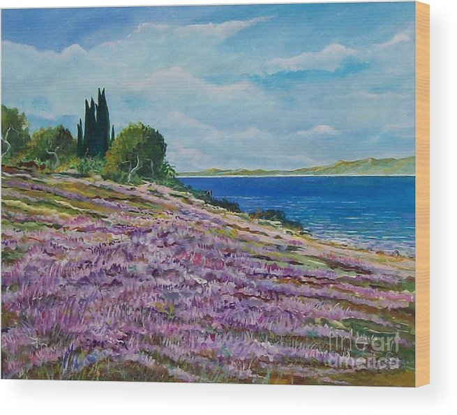 Landscape Wood Print featuring the painting Along The Shore by Sinisa Saratlic