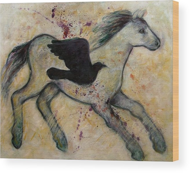 Horse Wood Print featuring the painting As The Crow Flies Impasto Horse by Carol Suzanne Niebuhr