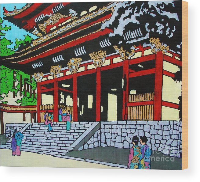 Original Wood Print featuring the painting At The Temple by Roberto Prusso