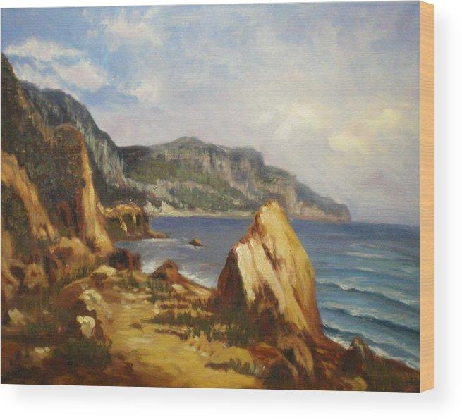 Landscape Wood Print featuring the painting Balaklava by Elena Sokolova