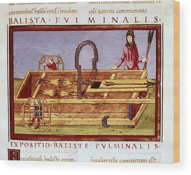 Horizontal Wood Print featuring the photograph Ballista Fulminalis. Siege Machine Used by Everett