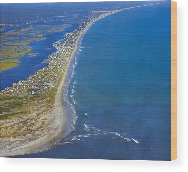Topsail Wood Print featuring the photograph Barrier Island Aerial by Betsy Knapp
