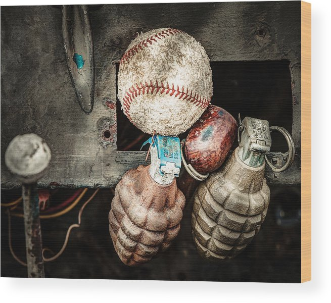 Baseball Wood Print featuring the photograph Baseball And Hand Grenades by Gary Heller