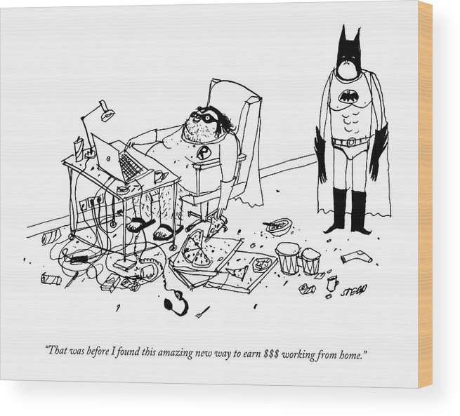 Internet Wood Print featuring the drawing Batman Stands In The Filthy Room Of A Fat by Edward Steed