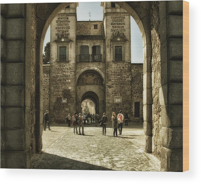 Ages Wood Print featuring the photograph Bisagra Gate And Courtyard by Joan Carroll