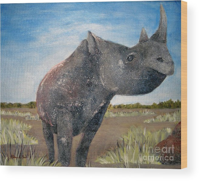 Rhino Wood Print featuring the painting Blue Sky Rhino by Susan Plenzick