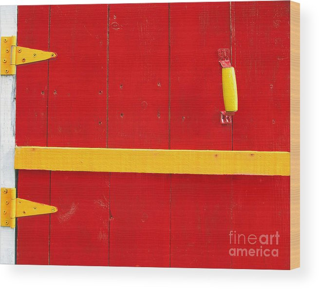 Abstract Wood Print featuring the photograph Bright Old Door by Liz Leyden