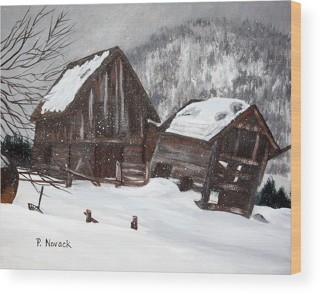 Barn Wood Print featuring the painting Broken Barn by Patricia Novack