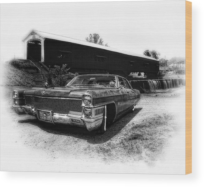 Hot Rod Rockabilly Art Wood Print featuring the photograph Cadill-bridge by Stephen Hooker