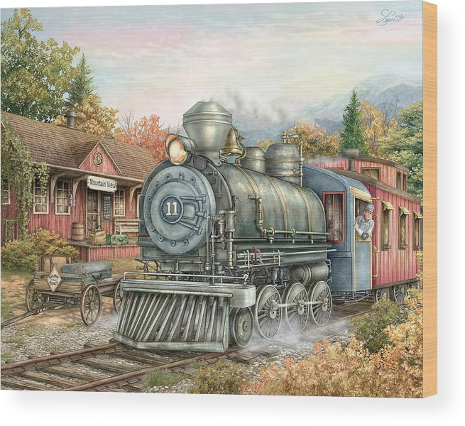 Train Wood Print featuring the painting Carolina Morning Train by Beverly Levi-Parker