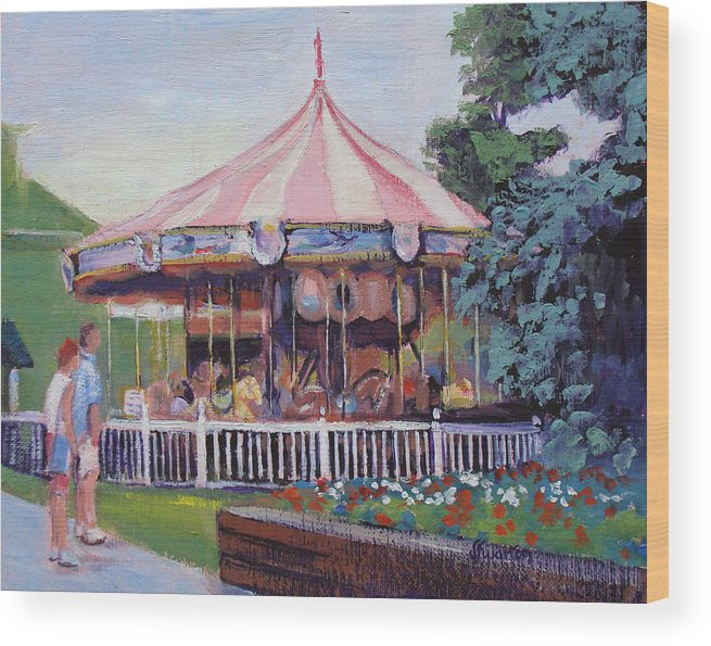 Carousel Wood Print featuring the painting Carousel At Put-in-bay by Judy Fischer Walton