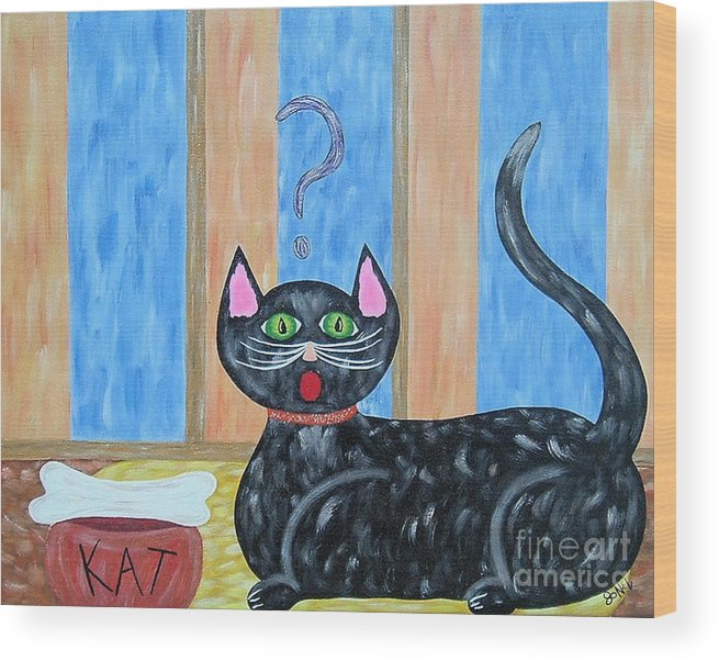 Cat Wood Print featuring the painting Cat And Bone by JoNeL Art