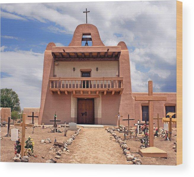 Pueblo Wood Print featuring the photograph Church At San Ildefonso by Nikolyn McDonald