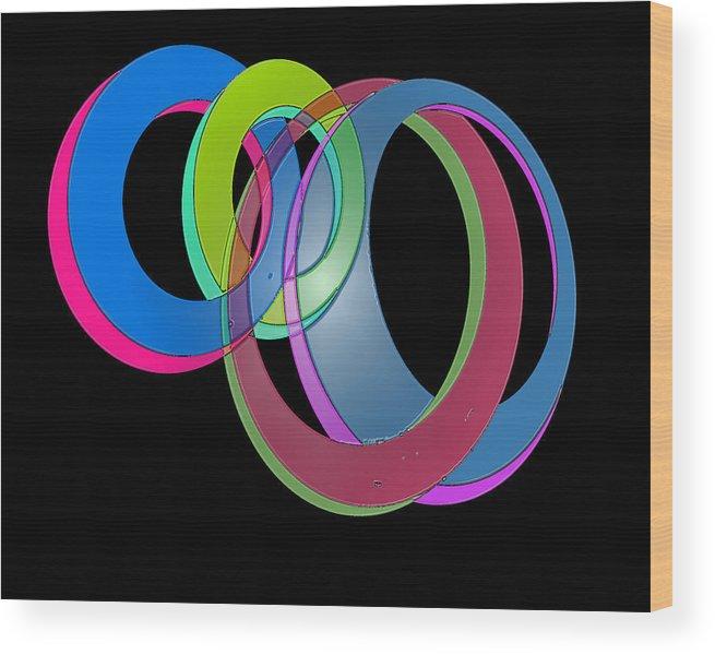 Digital Circles Wood Print featuring the digital art Circles by Don Allen