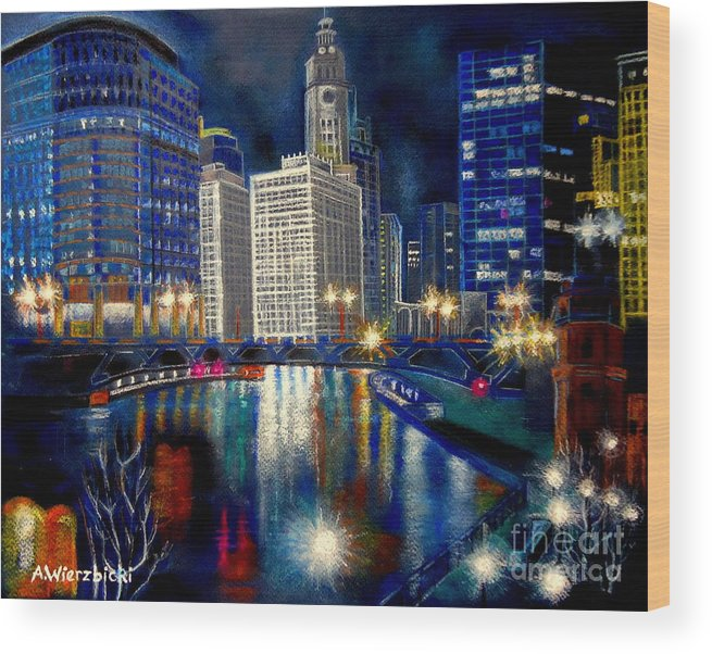 Citiscapes Wood Print featuring the painting City Lights by Alicia Wierzbicki