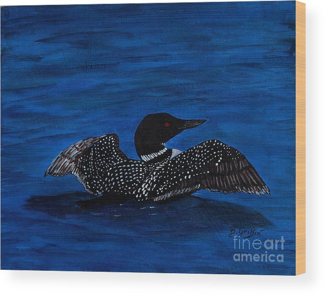 Barbara Griffin Wood Print featuring the painting Common Loon Preening by Barbara Griffin