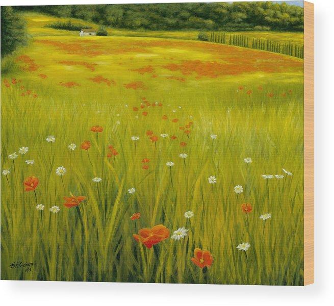 Cortona Poppies Wood Print featuring the painting Cortona Poppies by Kirk Graham