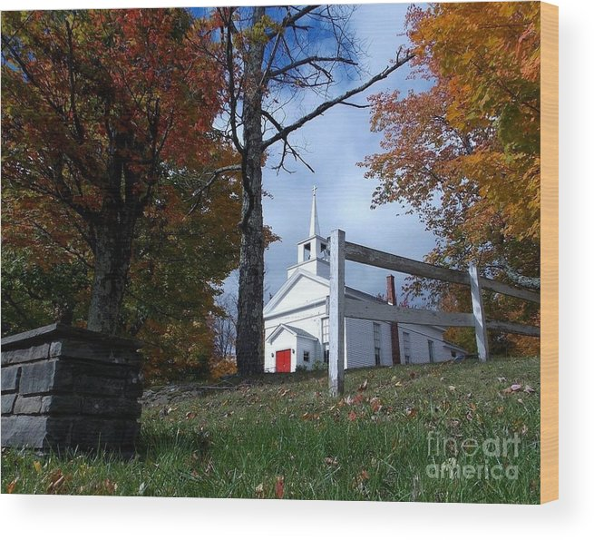 Church Wood Print featuring the photograph Country Church by Donna Cavanaugh