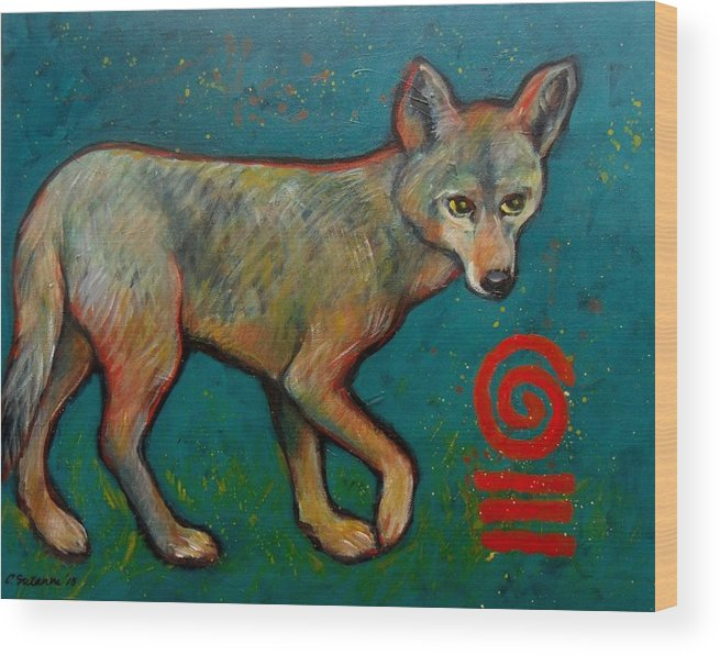Canis Latrans Wood Print featuring the painting Coyote Of The Symbol by Carol Suzanne Niebuhr
