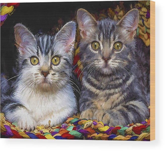Cat Wood Print featuring the painting Curious Kitties by David Wagner