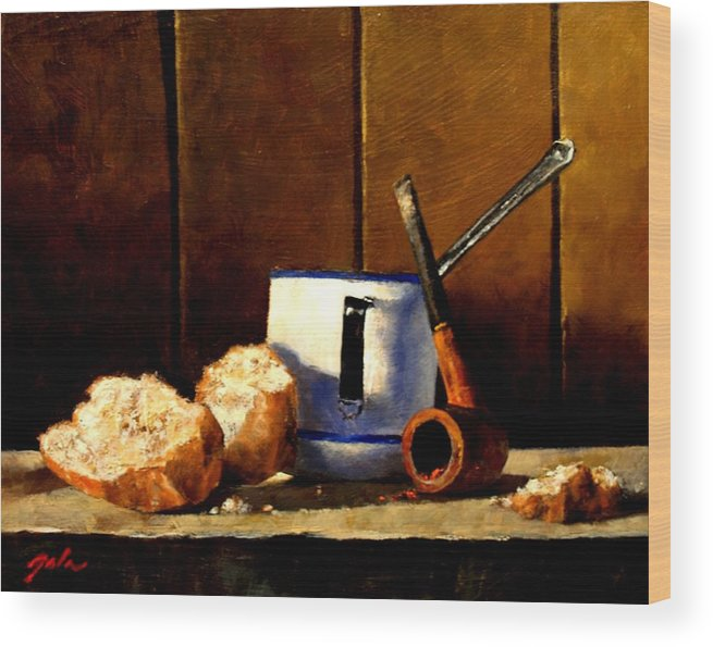Still Life Wood Print featuring the painting Daily Bread Ver 1 by Jim Gola