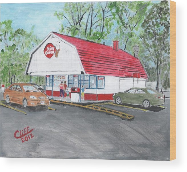 Building Wood Print featuring the painting Dairy Queen by Cliff Wilson