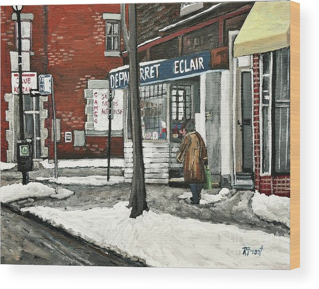 Paintings Wood Print featuring the painting Depanneur Arret by Reb Frost