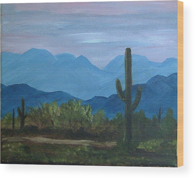 Desert Wood Print featuring the painting Desert Evening by Judi Pence