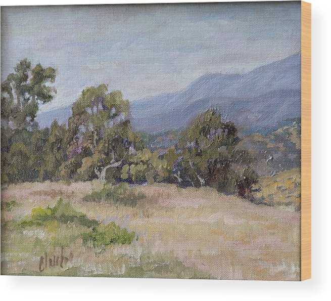 Landscape Wood Print featuring the painting Dos Pueblos Canyon by Patricia Cluche