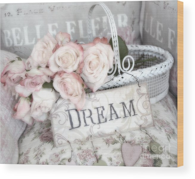 Shabby Chic Romantic Roses Wood Print featuring the photograph Dreamy Shabby Chic Romantic Cottage Chic Roses In White Basket by Kathy Fornal