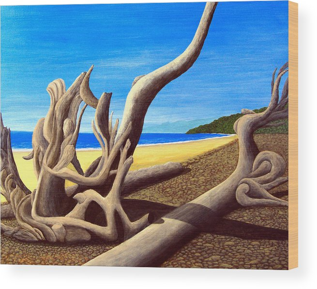 Landscape Artwork Wood Print featuring the painting Driftwood - Nature's Artwork by Frederic Kohli