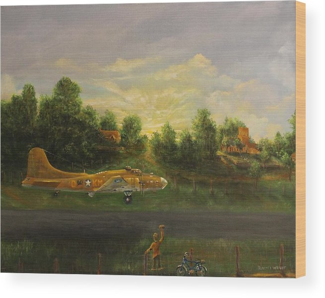 B-17 Wood Print featuring the painting Early Departure by Robert Wright