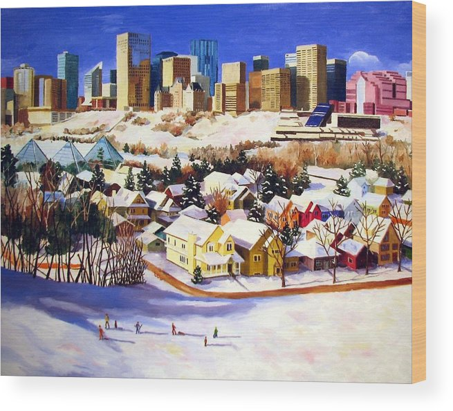 Urbanscape Wood Print featuring the painting Edmonton In Winter by Nel Kwiatkowska