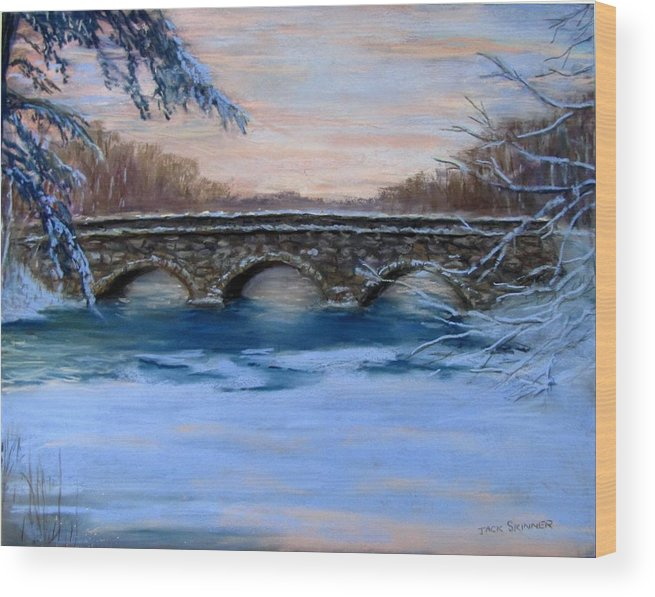 Concord. Winter Wood Print featuring the painting Elm Street Bridge On A Winter's Morn by Jack Skinner