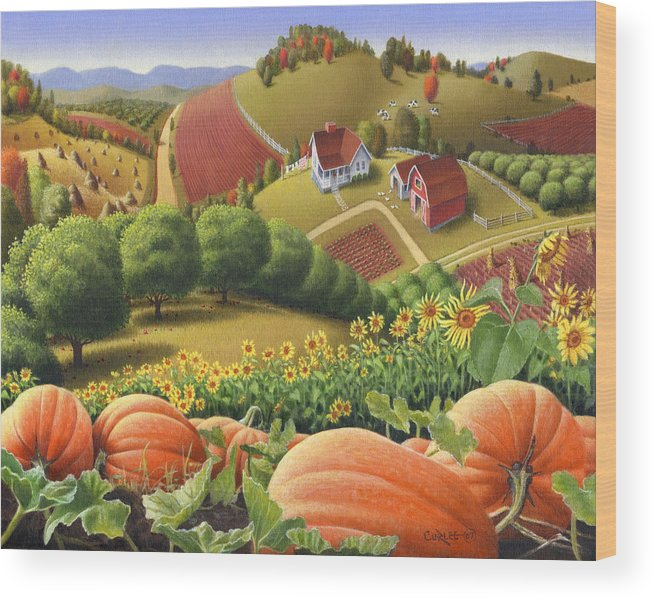 Pumpkin Wood Print featuring the painting Farm Landscape - Autumn Rural Country Pumpkins Folk Art - Appalachian Americana - Fall Pumpkin Patch by Walt Curlee