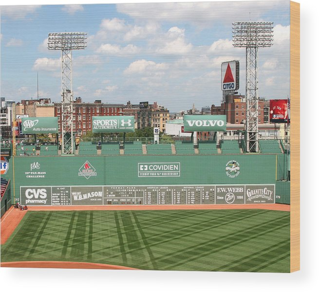 Mass Wood Print featuring the photograph Fenway Park Green Monster 1 by Kathy Hutchins