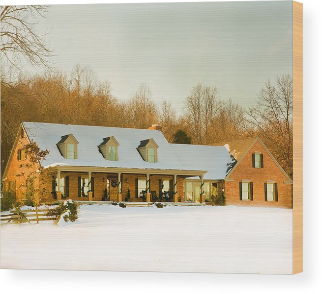 First Winter Snow Wood Print featuring the photograph First Winter Snow by Randall Branham