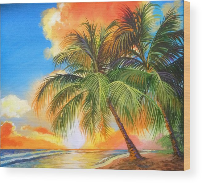 Books Fantasy People Realism Graphic Novels Sci-fi Wood Print featuring the painting Florida Palm Sunset by Robert Korhonen