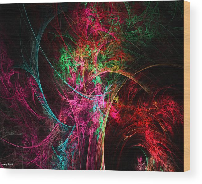 Flower In A Vase Abstract Wood Print featuring the digital art Flowerful Vase by Lourry Legarde