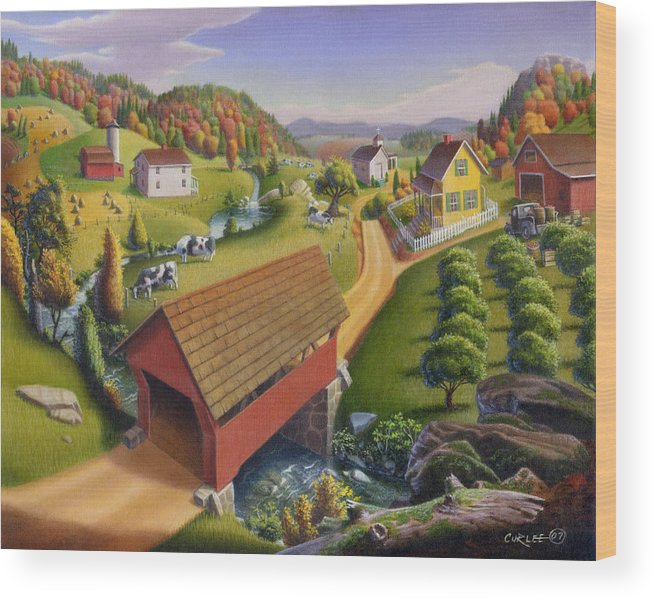 Covered Bridge Wood Print featuring the painting Folk Art Covered Bridge Appalachian Country Farm Summer Landscape - Appalachia - Rural Americana by Walt Curlee