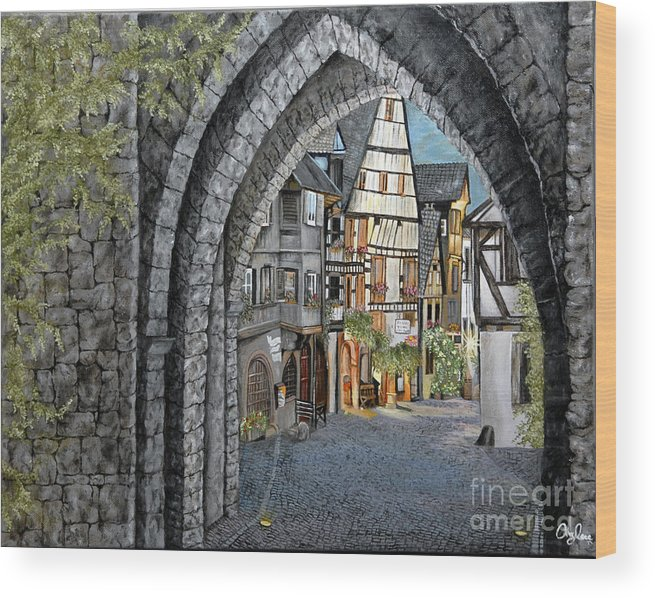 Cityscape Wood Print featuring the painting France by Mylene Le Bouthillier